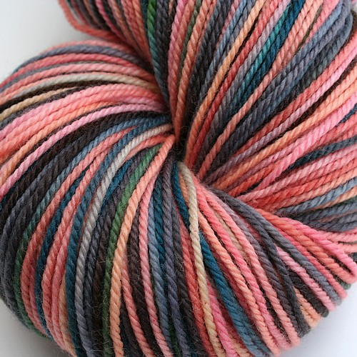 Superwash merino sock seeing stone stripes