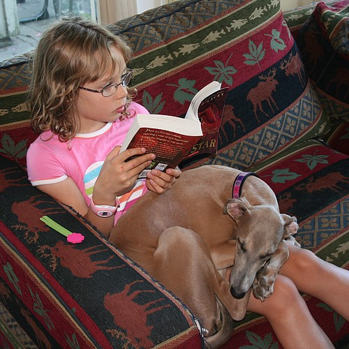 Reading with puppy